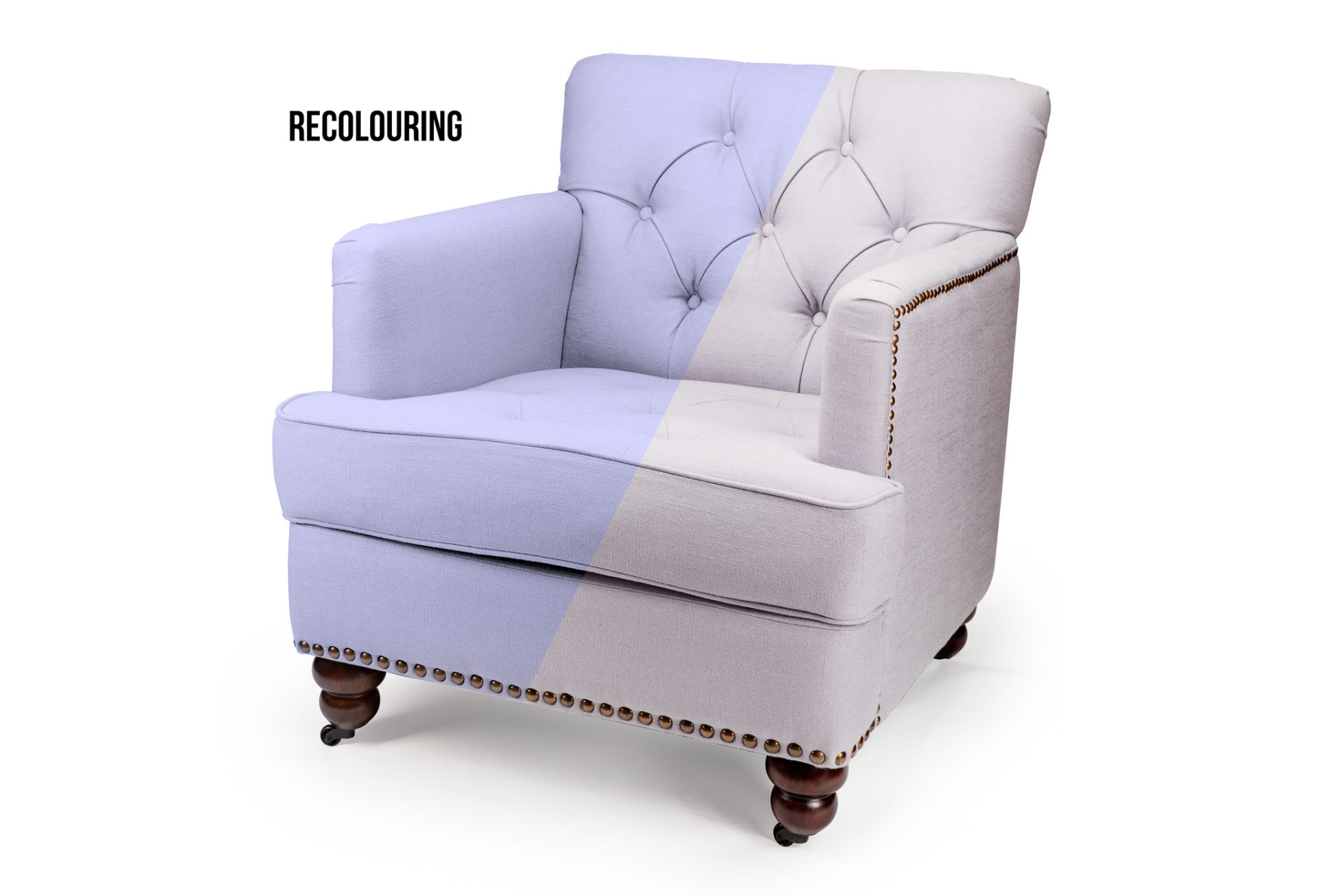 Upholstered chair showing two different colour options
