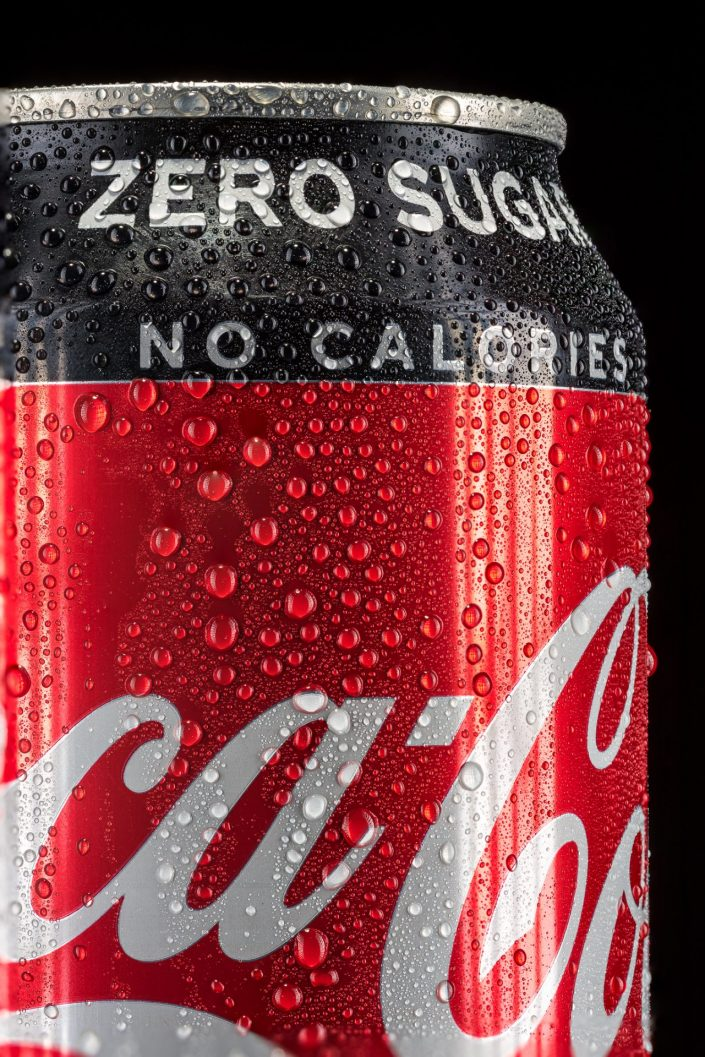 macro of condensation on a can of Coke Zero